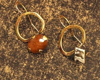 Bohemian Large Sapphire Dangle Earrings, Sapphire Earrings, Gemstone Asymmetric Earrings, Drop Earrings, Boho Silver & Brass Dangle Earrings