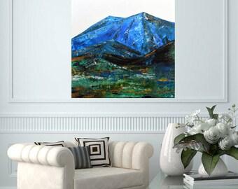 READY TO SHIP: 24x18 Textured/Impasto Abstract Landscape Field River Mountain Stream Prairie Woodland Wanderlust Original Art