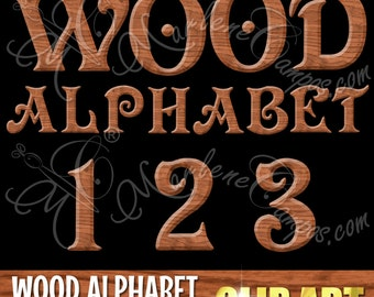 40% OFF - Alphabet Clip Art, Wood Alphabet, 3D Alphabet, Letters clipart, Numbers clip art, Digital Scrapbook, overlays INSTANT DOWNLOAD