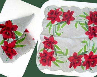 1940s Vintage Cotton Handkerchief // Red Lily Gray Floral Hankie