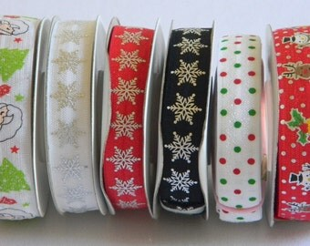 "Christmas FOE 5 yards of 5/8"" - 7/8"" (You Choose Pattern) Fold Over Elastic Assorted Prints for Holiday Crafts Girls Headband Connectors"