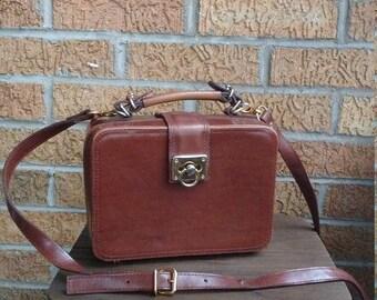 Vintage Brown Leather Art Box Purse