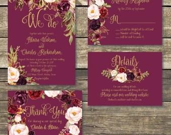 Printed Wedding Invitation - Fall Floral Watercolor Wedding - Gold / Burgundy / Marsala / Wine Rustic Wedding - FREE Hard Copy Proof