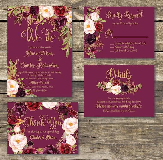 il_570xn - Burgundy Wedding Invitations