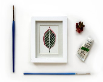 Variegated Rubber Plant Leaf Framed Original Watercolor Illustration | Mini Framed Painting Houseplant