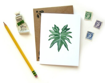 Philodendron Leaf Watercolor Greeting Card | Handpainted Houseplant Illustration Small Greeting Card Kraft Envelope