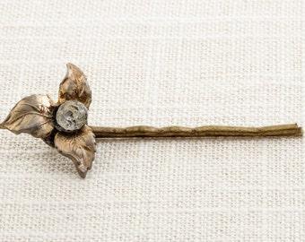 Gold Leaf Rhinestone Hair Clip Embellished Bobby Pin   Handmade in USA Hair Pins 16V