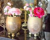 Rare Antique Pr Church Altar Vases, Brass, Inscribed IHS, Catholic