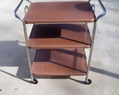 Vintage 3 Tier Rolling Cart All Original Removable Tray Top