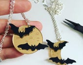 Spooky Bat and Moon Laser Cut Acrylic 16 Inch Statement Necklace or Brooch
