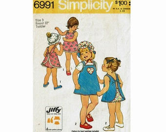 Jiffy Sewing Pattern Toddler Size 3 Easy Cut Easy Sew Dress Jumper Bloomers and Hat 1970s UNCUT Simplicity 6991 Sundress Playsuit Sunsuit