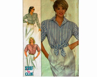 80s Cropped Shirt Uncut Sewing Pattern Ladies Misses Sizes 8 10 12 bust 31 1/2 32 1/2 34 1980s Simplicity 8576