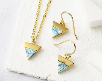 Mint Marble Jewellery - Marble Triangle, Gold Marble Jewellery, Triangle Necklace, Triangle Earrings, Marble Earrings, Marble Necklace