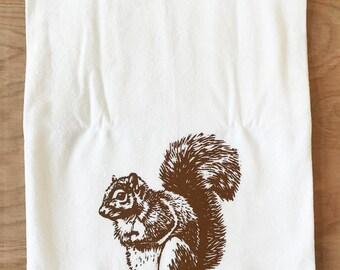 Squirrel Tea Towel Brown