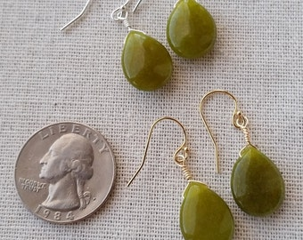 O L I V E - Glass Olive Drop Earrings with Sterling Silver Accent by Mandy Lemig