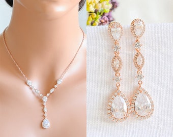 Rose Gold Bridal Necklace, Wedding Necklace, Crystal Marquise Teardrop Necklace, Y Bridal Necklace, Silver, Bridal Wedding Jewelry, VICTORIA