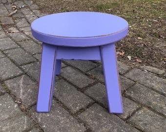 "Purple stool/ round stool/ step stool/ foot stool/ painted/ riser/ 8 - 10"" H"