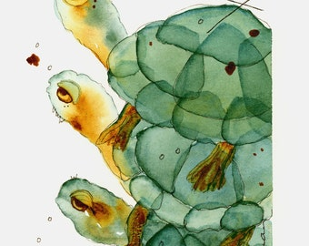 Original Watercolor Painting, 5 x 7 Turtle Watercolor
