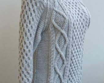 Grey, Knit sweater, knitted wool sweater, gray sweater, made to order, wool knit handmade, unique gifts, strett style,winter sweater, unisex