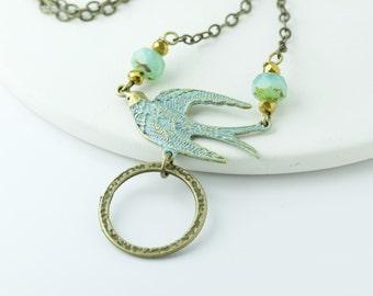 Verdigris Bird Eyeglass Lanyard, Eyeglass Holder Necklace, Turquoise Lanyard, Glasses Chains,