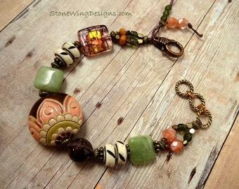 Boho Bracelet, Artisan Bracelet, Golem Studio Ceramic, Rustic Bracelet, Pink and Green, Gemstone Bracelet, Boho Jewelry, gift for mom