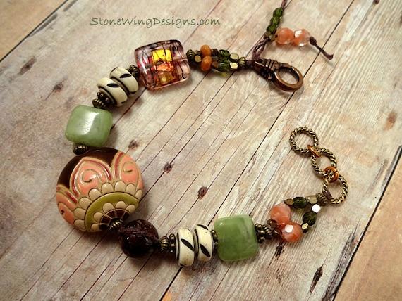 Rustic Boho Golem Studio Ceramic Green Garnet Bone Waxed Linen Bracelet
