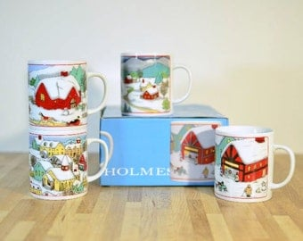 Vintage Holmes Christmas Coffee Mugs Holiday Winter Scenes NOS from AM & A's Department Store Buffalo, NY