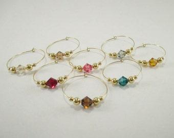 8 - Wine Charms | Swarovski ® Crystal Elements Wine Glass Charms | Gift Box | Wine Hostess Gift - Wine Glass Markers - Wine Tasting | GSC8-1