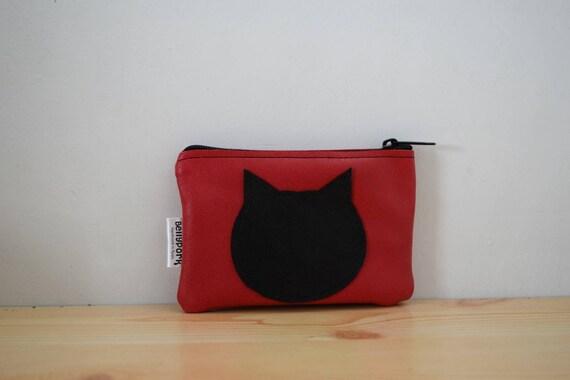 Leather coin purse,cat purse,change purse,kitty coin purse,red leather wallet,zippered coin purse,zippered pouch,leather pouch,cats pouch