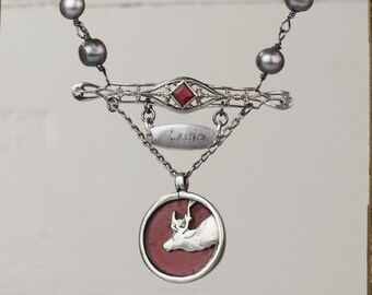 Laird of the Highlands- Silver assemblage necklace- Antique watch fobs, Sterling Silver, Gray pearls, Pink stones- Elk, Buck, Deer