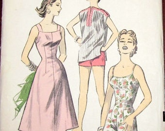 Vintage 1950s Sewing Pattern Advance 8018 Romper Playsuit Beach Sundress Dress Cover-up Caftan Top Womens Misses Size 18 Bust 36 UC Complete