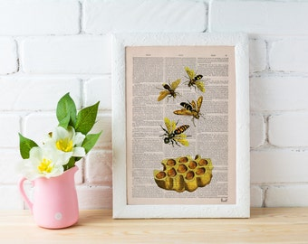 Summer Sale Bees Print on Dictionary Book page - Bees and honey Art on Upcycled Dictionary Book - Wall Art Home Decor BFL002