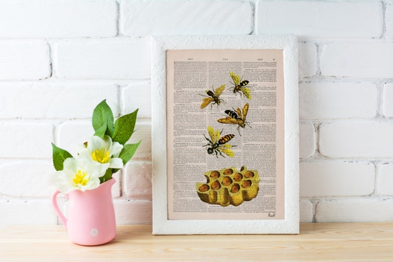 BOGO Sale Bees Print on Dictionary Book page - Bees and honey Art on Upcycled Dictionary Book - Wall Art Home Decor BFL002