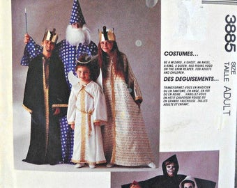 McCall's 3885 Wizard, Ghost, Angel, King, Queen, Red Riding Hood, Grim Reaper Costume Pattern, Uncut, Size Adult, Vintage 1988