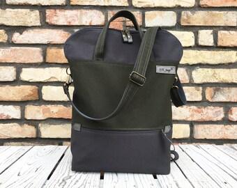 Military Canvas Backpack, Unisex Laptop Tote Bag, Vegan Messenger Crossbody Bag, Unique Gift for Men, Birthday Present for Husband