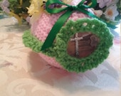 "Ready to ship - Crochet Sugar Easter Eggs Diarama Panoramic Egg Large 6"" X 5"" X 4"" Hand Crocheted"