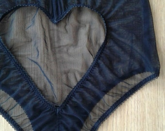 Women Sleepwear & Intimates Panties Handmade Lingerie The High Waist Mesh Heart Panties MADE TO ORDER