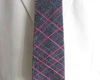 Paisley Ties, Mens Tie, Hand Embroidered Mans Necktie, Argyle, Dark Green, Preppy, Neck wear,Handmade,OOAK, Wil Shepherd, Upcycled,Vintage