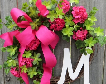 Front Door Wreath, Door Wreath in pink, Spring Wreath, Geranium Wreath, Pnk Wreath, Monogram Wreath, Pink Bow, Summer Wreath