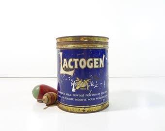 Vintage Advertising Tin / French Nestle Lactogen Baby Milk Formula Tin / Rustic Decor