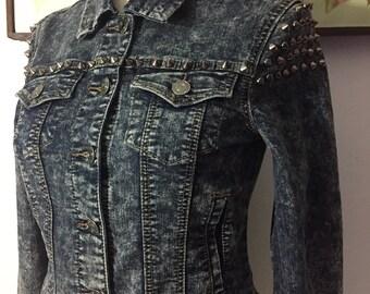 Vintage 90's Studded Acid Wash Jean Jacket By Wax Jeans Los Angeles ~ Size Medium ~  HOT!