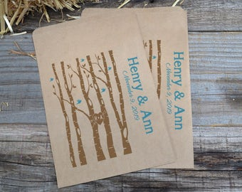 Wedding Woods with Birds Personalized Brown Paper Bags- Woods Favor Bag, Country Wedding Favor Bag, Wedding Candy Bar, Birch Trees Wedding