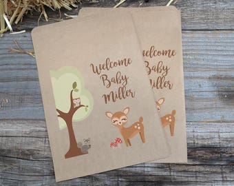 Woodland Creatures Doe Brown Kraft Bags, Owl Favor Bags, Forest Animals Paper Candy Bags, Deer Favor Bags, Baby Shower Woodland Creatures