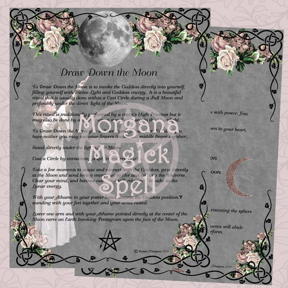 DRAW DOWN the MOON , Digital Download, 2 Book of Shadows Pages, Wicca, Grimoire, Scrapbook, Spell, Moon Correspondences, Moon Magick
