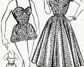 1950s Playsuit, Blouse & Full Circle Skirt Pattern Original Vintage Sewing Pattern Swimsuit Beach Rockabilly Separates Bust 34 FF Unused