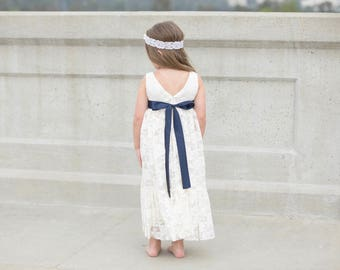 Navy blue and ivory lace flower girl dress, flower girl dresses, ivory lace flower girl, baby dress, girl dresses, junior bridesmaid dress