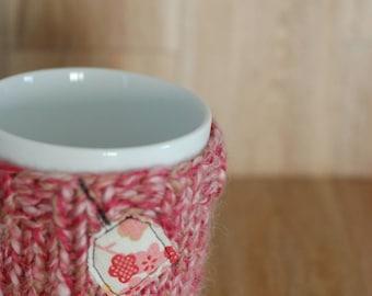 Eco friendly hand knit cup cozy Handmade mug cozy Coffee mug cozy Cup cozy Cup sleeve Tea cozy Mug cozy recycled yarn recycled yarn pink