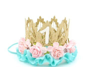 First Birthday crown || gold + pink + aqua || flower lace crown headband with satin ruffle trim || customize any age || photography prop