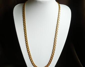 "Vintage Napier Necklace 30"" Long Gold Tone Chain 9mm Wide Flat Signed Metal EUC"