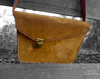 Tan Suede Vintage Should Bag